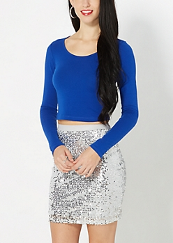 Cobalt Long Sleeve Crop Top
