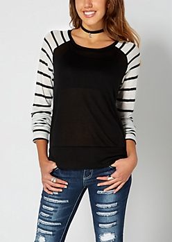 Black Striped Knit Baseball Top