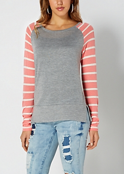 Heather Gray Striped Knit Baseball Top
