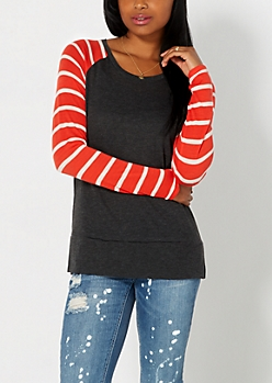 Charcoal Gray Striped Knit Baseball Top