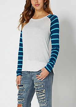 White Striped Knit Baseball Top