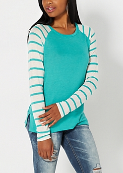 Light Green Striped Knit Baseball Top