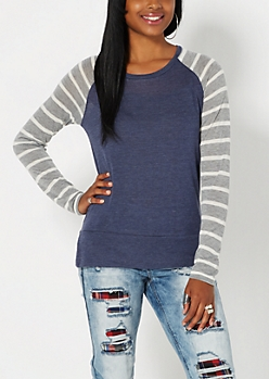 Navy Striped Knit Baseball Top