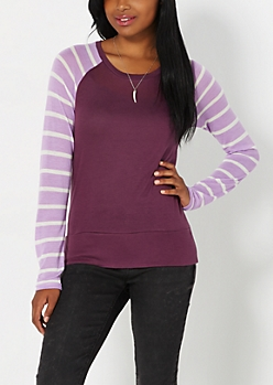 Purple Striped Knit Baseball Top