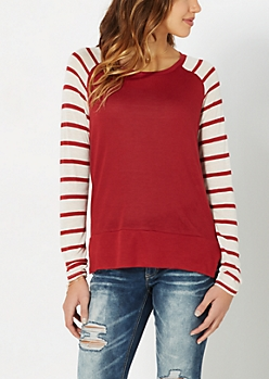 Burgundy Striped Knit Baseball Top
