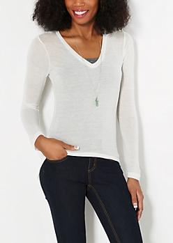 Ivory V-Neck Knit Top