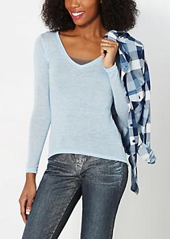 Blue V-Neck Knit Top