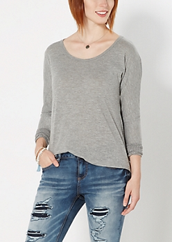 Gray Ribbed Trim Dolman Tunic