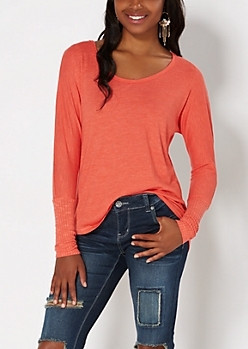 Coral Ribbed Trim Dolman Tunic