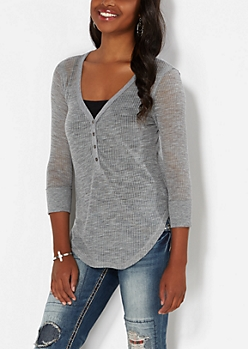 Gray Sheer Henley Top