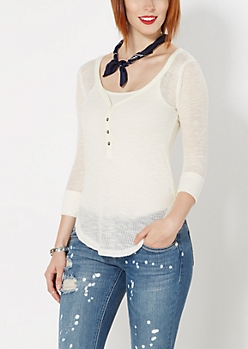 Ivory Sheer Henley Top