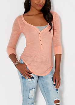 Peach Sheer Henley Top