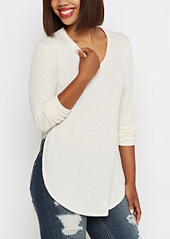 Ivory Extreme Side Split Knit Tee