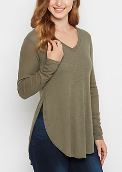 Olive Extreme Side Split Knit Tee