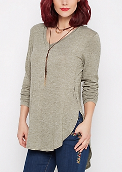 Olive Marled Knit Shirttail Top
