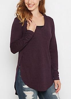 Purple Marled Knit Shirttail Top