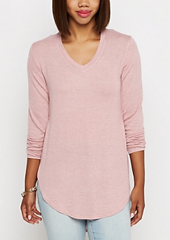 Light Pink Marled Knit Shirttail Top