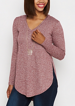 Burgundy Marled Knit Shirttail Top
