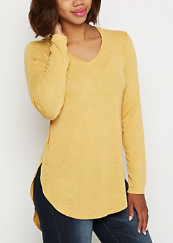 Mustard Knit Shirttail Top