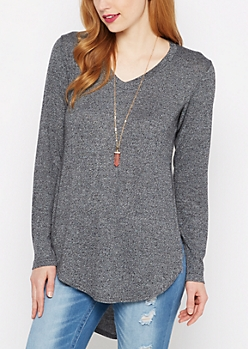 Black Marled Knit Shirttail Top