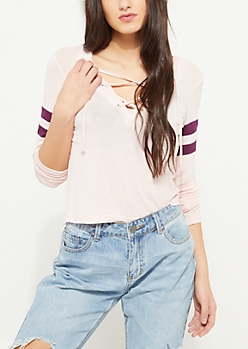 Pink Long Sleeve Lattice Top