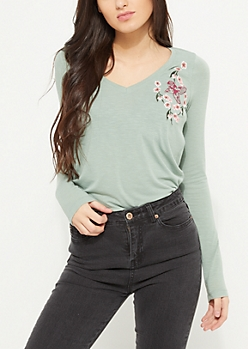 Olive Cherry Blossom Embroidered Top