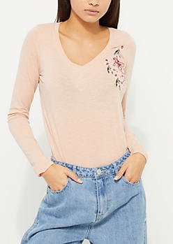Pink Cherry Blossom Embroidered Top