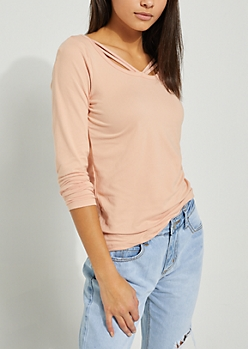 Strappy Pink Embroidered Stripe Top