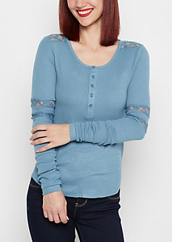 Ribbed Knit Lace Insert Henley Top
