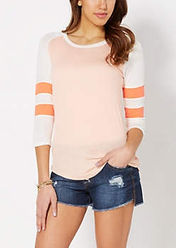 Peach & White Baseball Tee