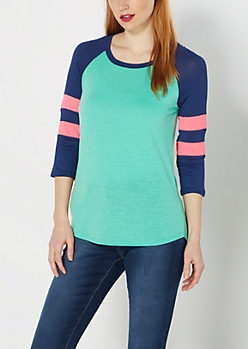 Teal & Navy Baseball Tee