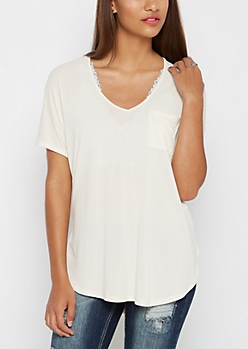 Cream Slouchy Dolman Pocket Tee
