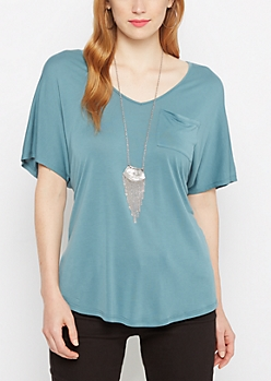 Teal Slouchy Dolman Pocket Tee