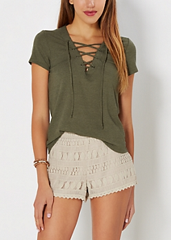 Olive Slim Ribbed Lattice Tee