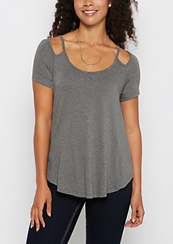 Charcoal Cut-Out Shoulder Tee