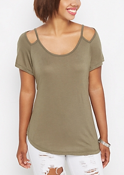 Olive Cut-Out Shoulder Tee