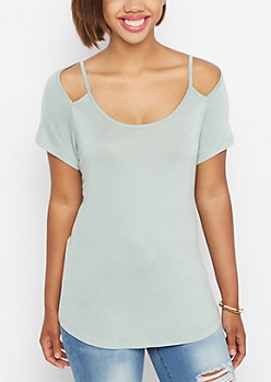 Mint Cut-Out Shoulder Tee