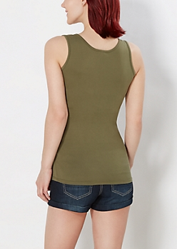 Olive Green Soft Brushed Tank Top