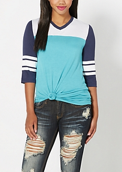 Blue Blocked Varsity Striped Tee
