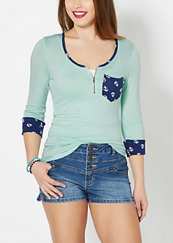 Tossed Anchor Zip Yoke Top
