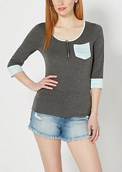 Charcoal Gray Striped Zip Yoke Top