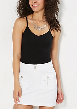 Black Ribbed V-Neck Cami