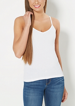 White Ribbed V-Neck Cami