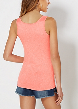 Neon Orange Marled Knit Tank
