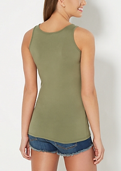 Olive Classic Soft Brushed Tank Top