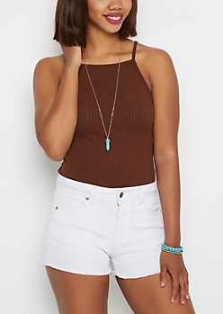 Brown Ribbed High Neck Cami