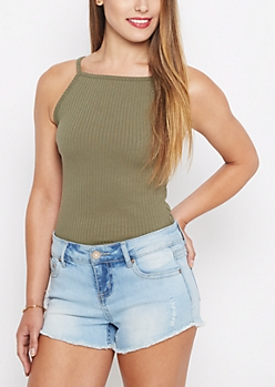 Olive Ribbed High Neck Cami
