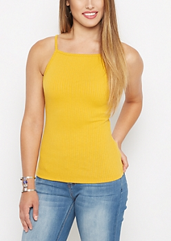 Golden Ribbed High Neck Cami