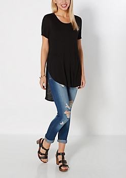 Black Split Seam Tunic Top