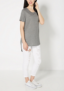 Heather Gray Split Seam Tunic Top